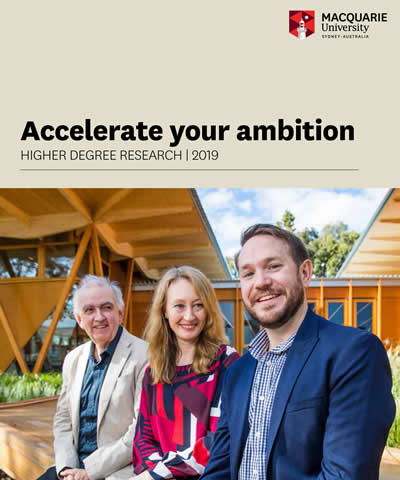 UIC graduate student and cotutelle candidate Alex Luft (Department of English) is featured on the cover of the 2019 Macquarie University Prospectus along with his Macquarie University cotutelle supervisor, Associate Professor Peter Doyle, and the Head of Department, Professor Nicole Anderson.