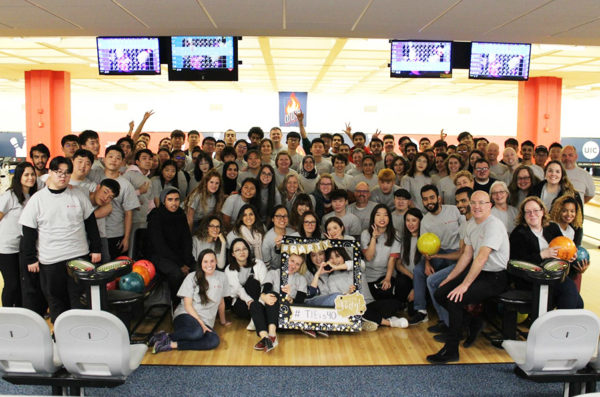 Student and staff celebrate 40 years of TIE at the UIC Bowling Alley.