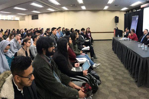 Consuls General of El Salvador, Costa Rica, Honduras and Guatemala address an audience of UIC students during a recent edition of the Allan Lerner Foreign Policy Lecture Series.