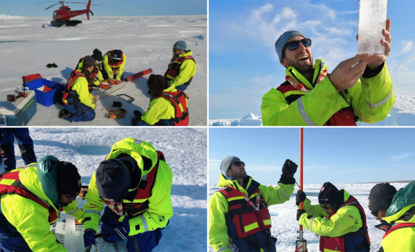 Four photos of students and faculty drilling through the ice for samples