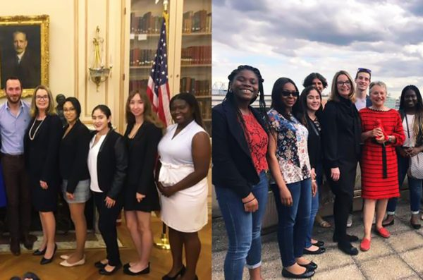 Students posing with Kathryn Engel and Brian Bauer at the Comité Paris Chicago